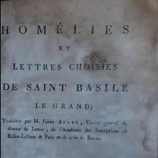 Libros de segunda mano: HOMÉLIES ET LETTRES CHOISIES. SAINT BASILE. 1788.. Lote 56908232