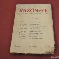 Libros de segunda mano: RAZÓN Y FE REVISTA HISPANO-AMERICANA DE CULTURA ENERO 1953. Lote 57977333