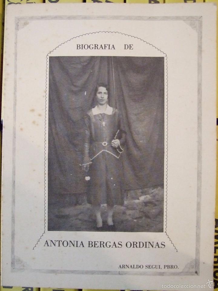 BIOGRAFIA ANTONIA BERGAS ORDINAS - ARNALDO SEGUI - COLON INCA 1981 MALLORCA MARIA DE LA SALUT (Libros de Segunda Mano - Religión)