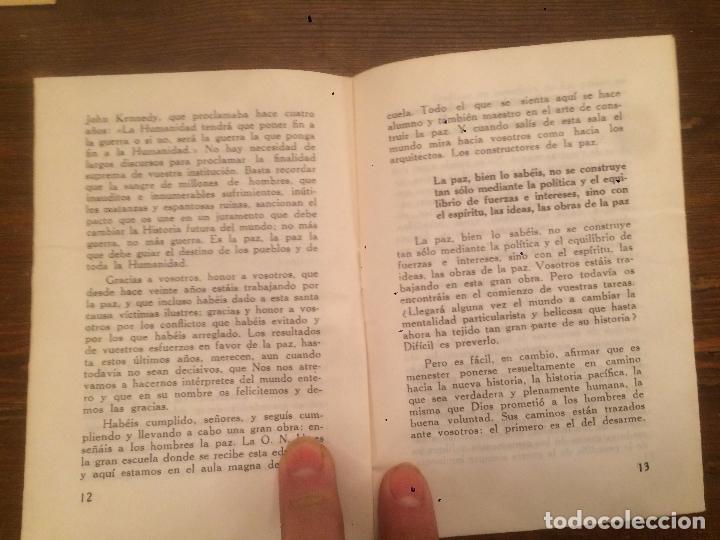 Libros de segunda mano: Antiguo libro un mensaje de paz discurso de Pablo VI en las naciones unidas año 1965 - Foto 3 - 71415763