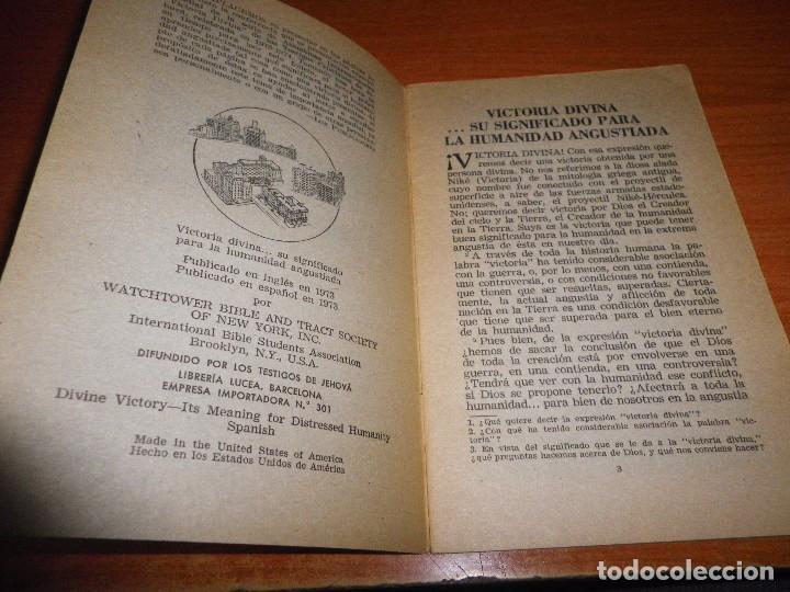 Libros de segunda mano: VICTORIA DIVINA ...SU SIGNIFICADO PARA LA HUMANIDAD ANGUSTIADA FOLLETO TESTIGOS DE JEHOVA WATCHTOWER - Foto 2 - 89765536