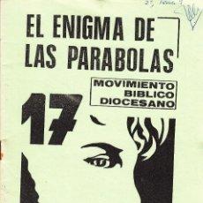 Libros de segunda mano: EL ENIGMA DE LAS PARÁBOLAS. MOVIMIENTO BÍBLICO DIOCESANO 17. J.L. DEBESA (1985). Lote 85350936