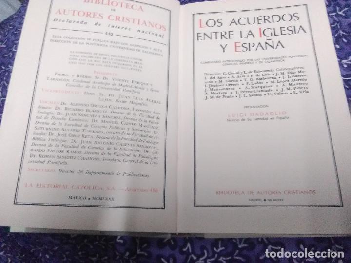 Libros de segunda mano: Los Acuerdos entre la Iglesia y España. C. Corral y L. de Echeverría. BAC nº 410. 1980. - Foto 2 - 89789316