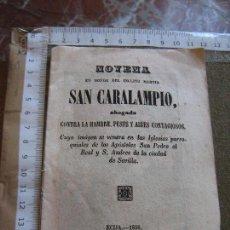 Libros de segunda mano: NOVENA SAN CARALAMPIO 1856 - INCLUYE GRABADO DEL SANTO FIRMADO POR AGUILAR - 16 PAGINAS. Lote 91145495