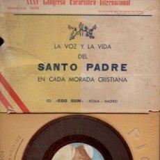Libros de segunda mano: LIBRO DISCO : LA VOZ Y LA VIDA DEL SANTO PADRE PIO XII (1950). Lote 94943375