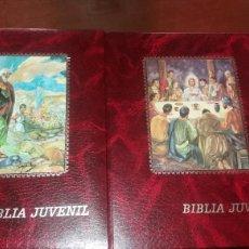 Libros de segunda mano: BIBLIA JUVENIL DOS TOMOS ENCUADERNADOS EN PIEL. Lote 97984338