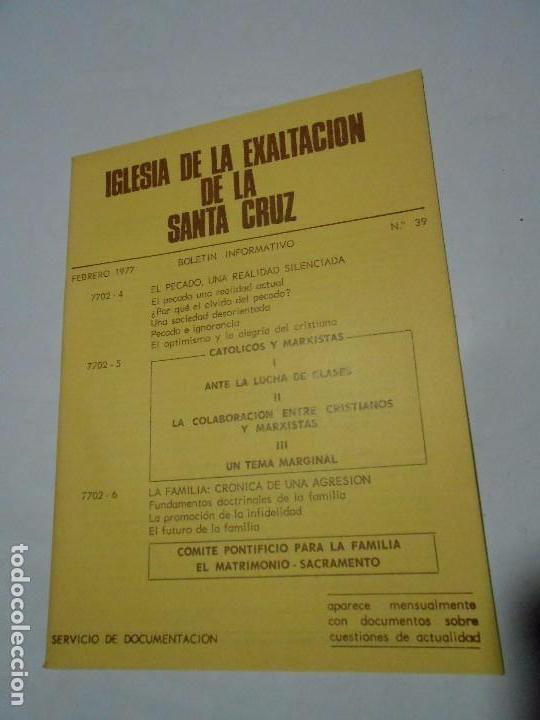 IGLESIA DE LA EXALTACIÓN DE LA SANTA CRUZ- ZARAGOZA - 1977 - BOLETÍN INFORMATIVO Nº 39 (Libros de Segunda Mano - Religión)