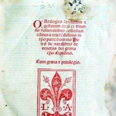 Libros de segunda mano: CATALOGUS SANCTORUM ET GESTORUM EORU[M] EX DIUERSIS VOLUMINIBUS COLLECTUS: EDITUS A REUERE[N]DISSIMO. Lote 109022883