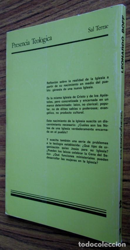 Libros de segunda mano: ECLESIOGENESIS - La comunidad de base reinventan la Iglesia - Por Leonardo Boff - Ed.Sal Terrea1986 - Foto 2 - 109916047