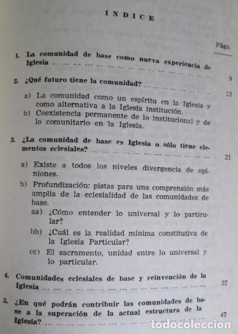 Libros de segunda mano: ECLESIOGENESIS - La comunidad de base reinventan la Iglesia - Por Leonardo Boff - Ed.Sal Terrea1986 - Foto 3 - 109916047