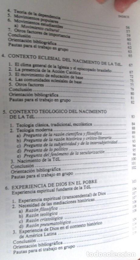Libros de segunda mano: TEOLOGIA DE LA LIBERACION - Guía didáctica para su estudio - Por Joan Batista Libanio - Foto 4 - 109990235