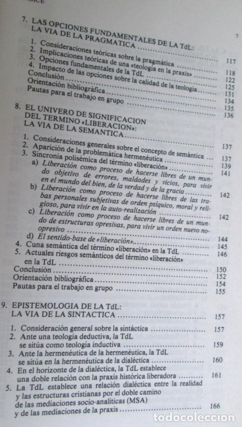 Libros de segunda mano: TEOLOGIA DE LA LIBERACION - Guía didáctica para su estudio - Por Joan Batista Libanio - Foto 5 - 109990235