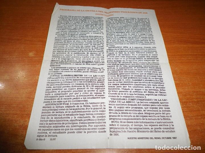 PROGRAMA DE LA ESCUELA DEL MINISTERIO TEOCRATICO 1998 TESTIGOS DE JEHOVA WATCHTOWER (Libros de Segunda Mano - Religión)
