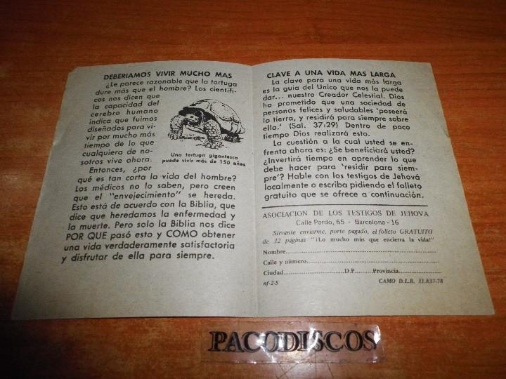 Libros de segunda mano: VIDA Y SALUD PARA SIEMPRE ¿UNA POSIBLILIDAD REAL ? TESTIGOS DE JEHOVA TRATADO PREDICAR WATCHTOWER - Foto 2 - 110488051
