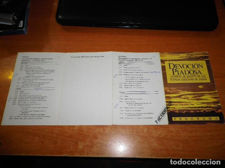 PROGRAMA DE MANO ASAMBLEA DISTRITO DE LOS TESTIGOS DE JEHOVA DEVOCION PIADOSA (Libros de Segunda Mano - Religión)