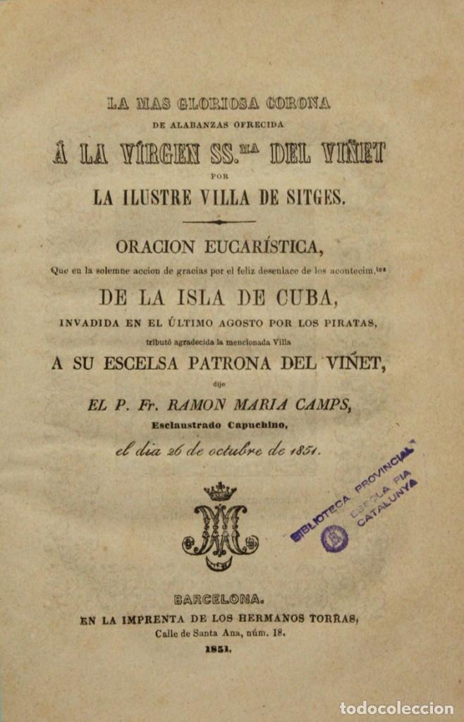 LA MAS GLORIOS CORONA DE ALABANZZAS OFRECIDA A LA VIRGEN SSMA. DEL VIÑET POR LA ILUSTRE VILLA DE SIT (Libros de Segunda Mano - Religión)