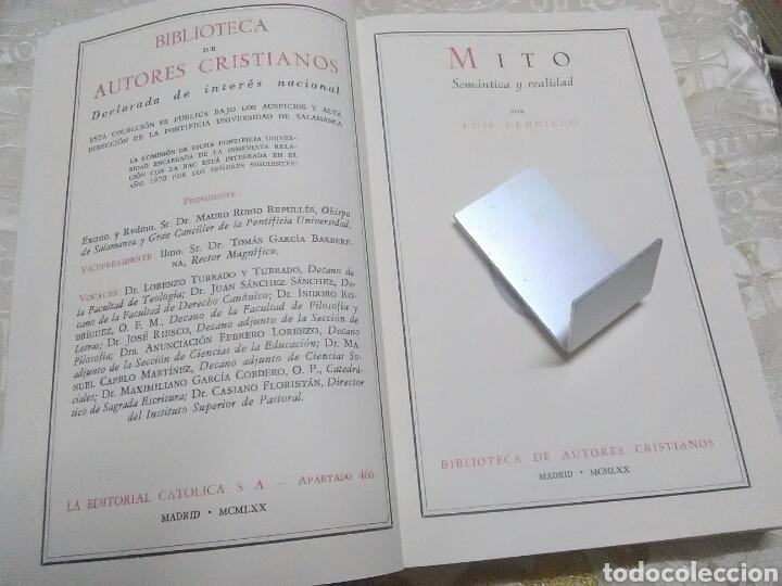 Libros de segunda mano: Mito. Semántica y realidad. Luis Cencillo. BAC, nº 299. 1970. - Foto 2 - 126140371