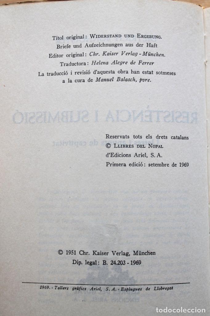 Libros de segunda mano: Dietrich Bonhoeffer - Resistència i submissió. Lletres i apunts de captivitat - Llibres del Nopal - Foto 5 - 131796302