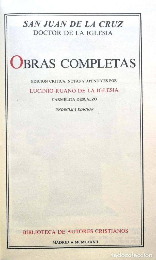 SAN JUAN DE LA CRUZ, DOCTOR DE LA IGLESIA. OBRAS COMPLETAS. MADRID, 1982 (Libros de Segunda Mano - Religión)