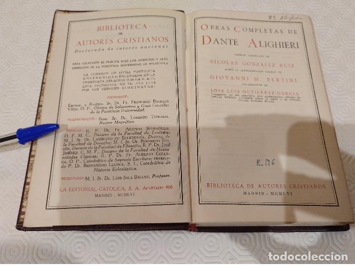 Libros de segunda mano: OBRAS COMPLETAS DE DANTE ALIGHIERI. BAC 1956. PIEL. - Foto 4 - 142981306