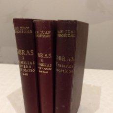 Libros de segunda mano: OBRAS DE SAN JUAN CRISÓSTOMO. TRATADOS ASCETICOS Y HOMILIAS SOBRE EL EVANGELIO DE SAN MATEO. 3 TOMOS. Lote 142987570