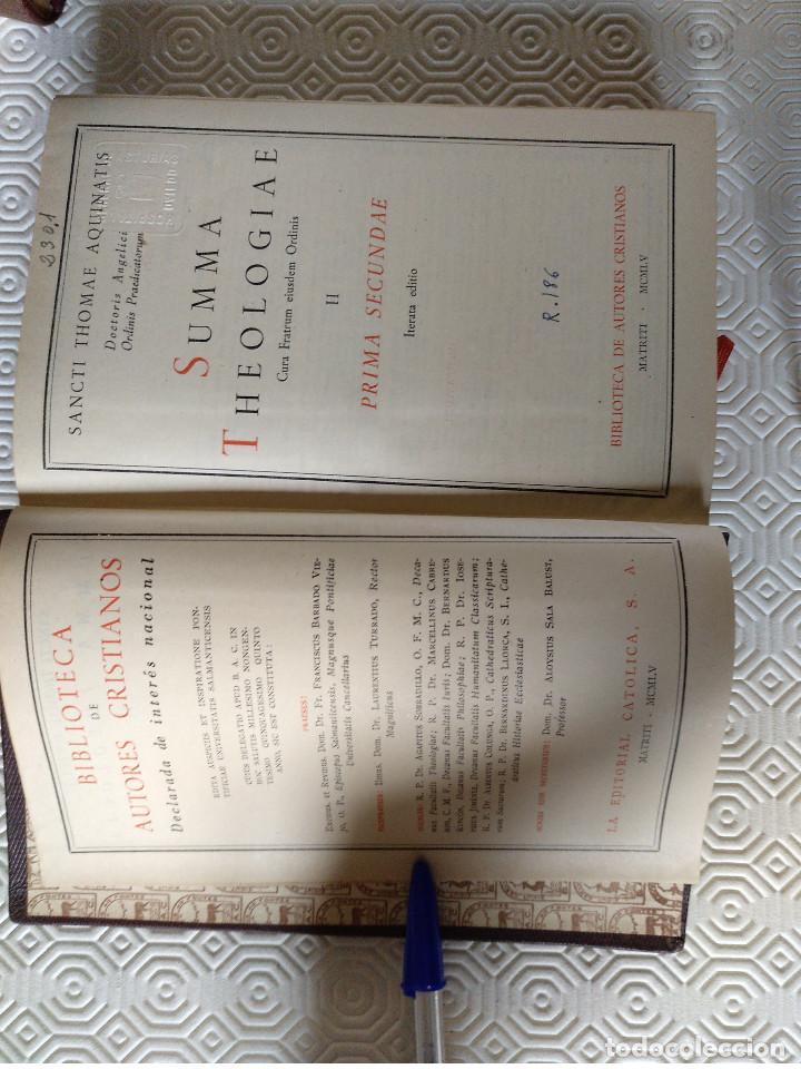 Libros de segunda mano: SUMMA THEOLOGIAE SANCTI THOMAEL AQUINATIS. 5 TOMOS. BAC 1951. PIEL. - Foto 5 - 143043634