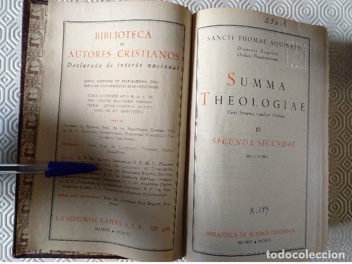 Libros de segunda mano: SUMMA THEOLOGIAE SANCTI THOMAEL AQUINATIS. 5 TOMOS. BAC 1951. PIEL. - Foto 6 - 143043634