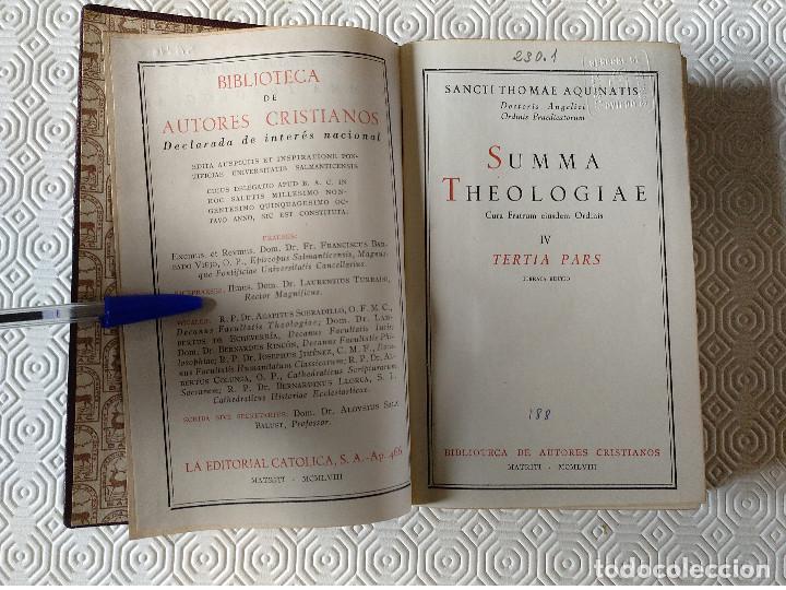 Libros de segunda mano: SUMMA THEOLOGIAE SANCTI THOMAEL AQUINATIS. 5 TOMOS. BAC 1951. PIEL. - Foto 7 - 143043634