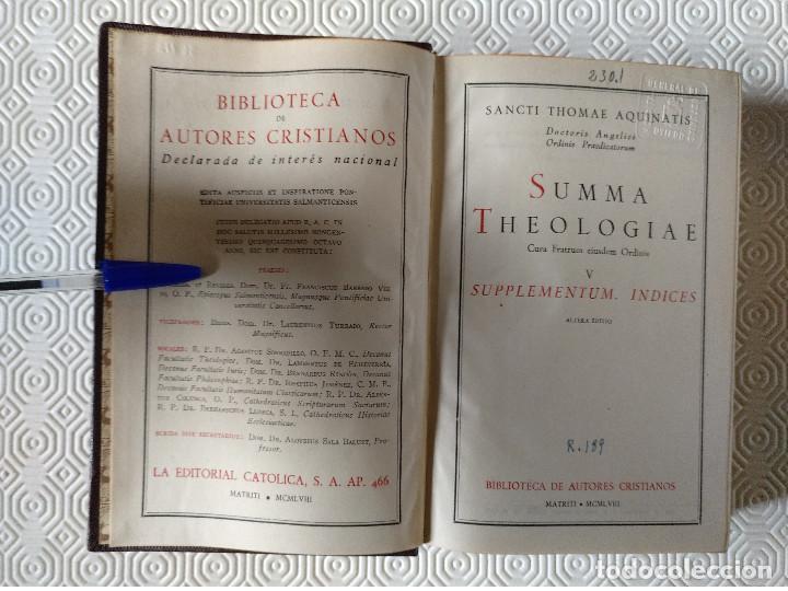 Libros de segunda mano: SUMMA THEOLOGIAE SANCTI THOMAEL AQUINATIS. 5 TOMOS. BAC 1951. PIEL. - Foto 8 - 143043634