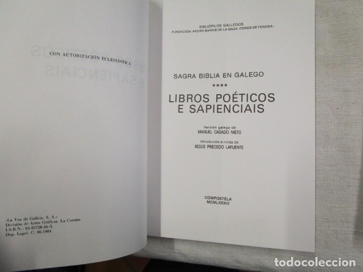 Libros de segunda mano: SAGRADA BIBLIA TRADUCIDA AL GALLEGO - EN 5 TOMOS, EDI BIBLIOFILOS GALLEGOS 1985 + INFO - Foto 5 - 174893348