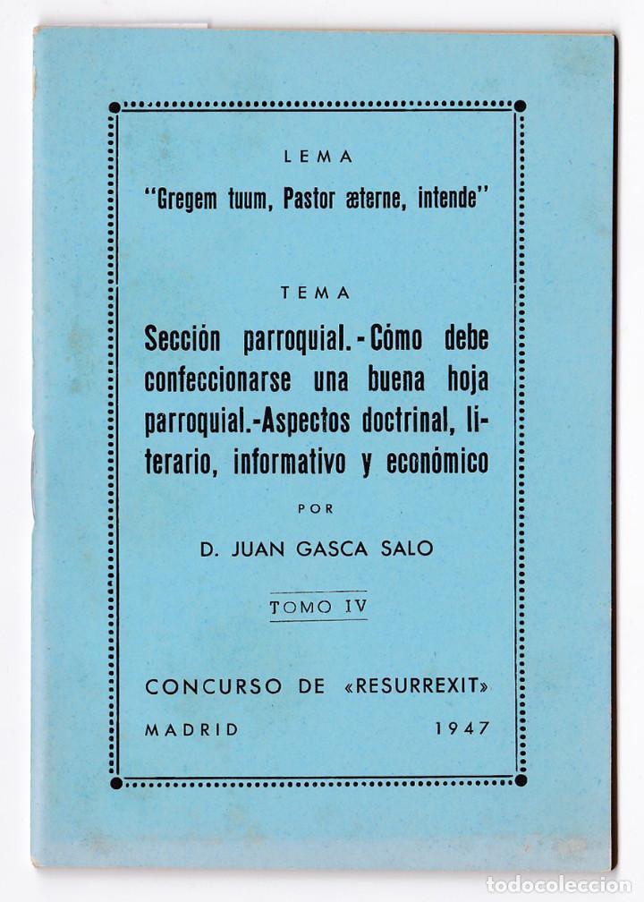 SECCIÓN PARROQUIAL. CÓMO DEBE CONFECCIONARSE UNA BUENA HOJA PARROQUIAL. MADRID, 1947 (Libros de Segunda Mano - Religión)