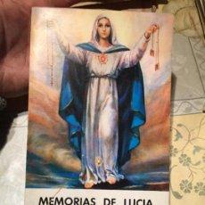 Libros de segunda mano: ANTIGUO LIBRO RELIGIOSO MEMORIAS DE LUCIA LA VIDENTE DE FATIMA AÑO 1974. Lote 158483326
