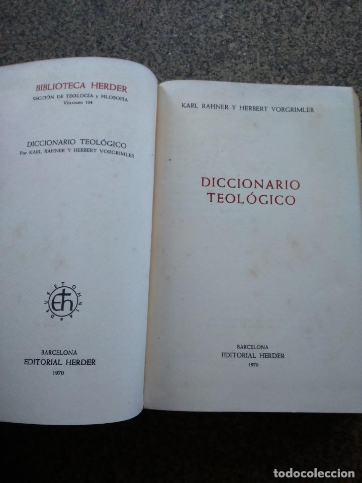 Libros de segunda mano: DICCIONARIO TEOLOGICO -- BIBLIOTECA HERDER 1970 -- - Foto 2 - 158711486