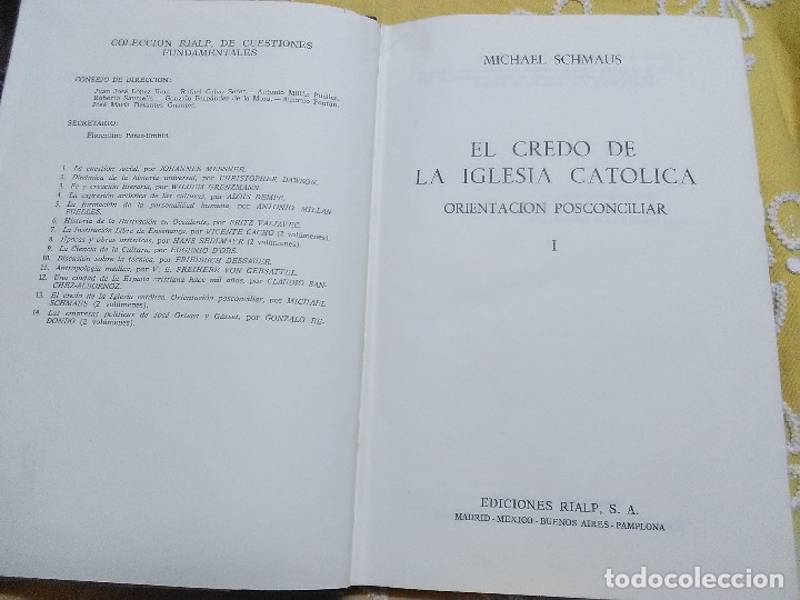 Libros de segunda mano: El Credo de la Iglesia Católica. (Sólo tomo I). M. Schmaus. Ed. Rialp, 1970. - Foto 2 - 158995265