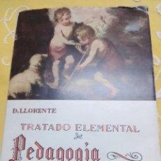 Libros de segunda mano: TRATADO ELEMENTAL DE PEDAGOGÍA CATEQUÍSTICA. LLORENTE. 1955. 8 ED. . Lote 159443966
