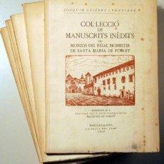 Libros de segunda mano: GUITERT, JOAQUIM - COL.LECCIÓ MANUSCRITS INÈDITS MONJOS REIAL MONESTIR POBLET - 7 VOL - PAPER FIL. Lote 163088877