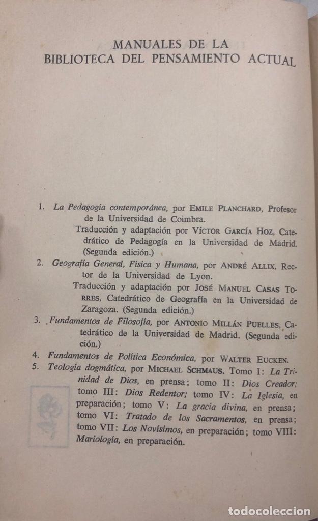 Libros de segunda mano: TEOLOGIA DOGMATICA. II. DIOS CREADOR. MICHAEL SCHMAUS. EDICIONES ALP. MADRID, 1959. PAGS 457 - Foto 3 - 163847930