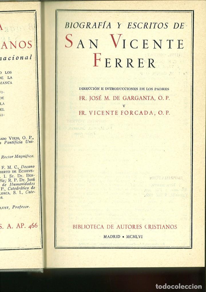 BIOGRAFÍA Y ESCRITOS DE SAN VICENTE FERRER. FR. M. DE GARGANTA, O.P. Y FR. VICENTE FORCADA, O.P. (Libros de Segunda Mano - Religión)