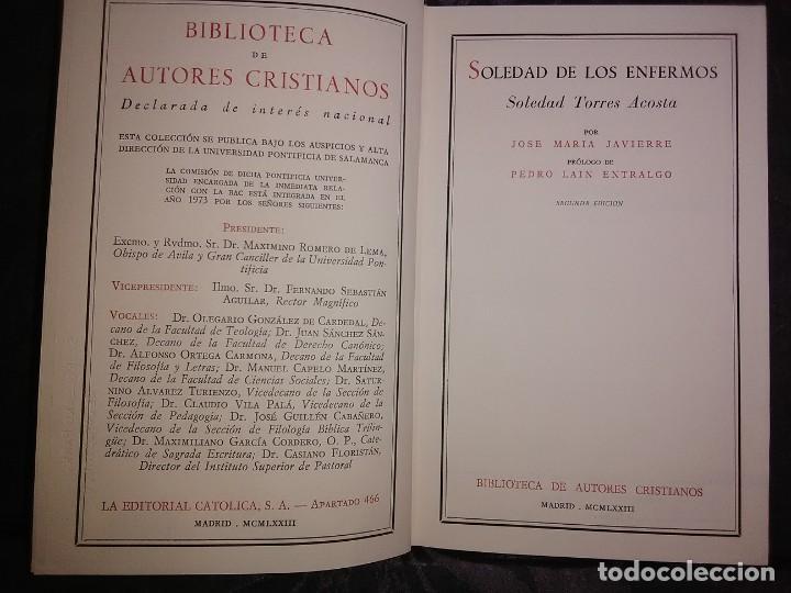 Libros de segunda mano: Soledad de los enfermos. (Soledad Torres Acosta). J. M. Javierre. BAC, n. 296. 1973. 2 Ed. - Foto 2 - 166853462