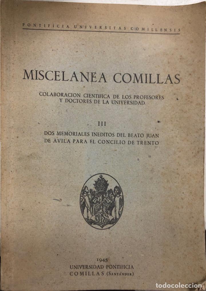 MISCELANEA COMILLAS. UNIVERSIDAD PONTIFICIA COMILLAS. SANTANDER, 1945. (Libros de Segunda Mano - Religión)
