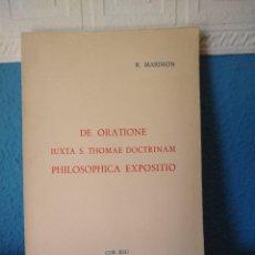 Libros de segunda mano: DE ORATIONE - P. RICHARDI MARIMON - EDITIONES COR JESU - PUERTO RICO (1963). Lote 168435712