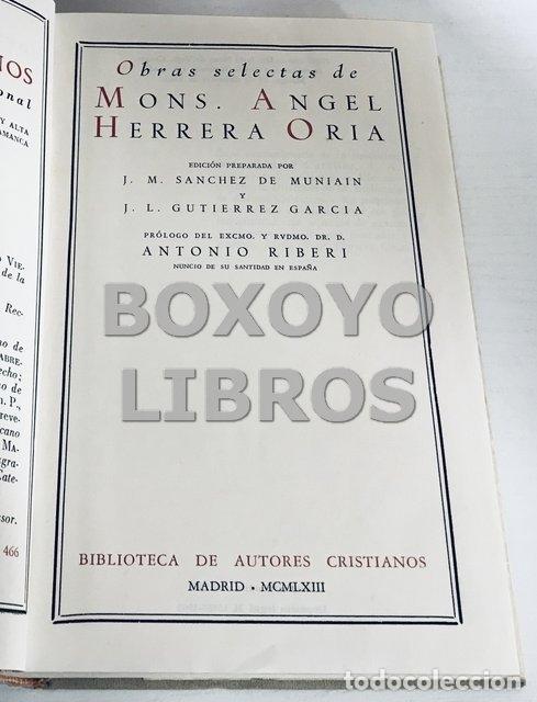 Libros de segunda mano: HERRERA ORIA, Ángel (Monseñor). Obras Selectas - Foto 2 - 168462124