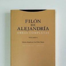 Libros de segunda mano: OBRAS COMPLETAS I.- FILÓN DE ALEJANDRÍA (2009). Lote 171168990