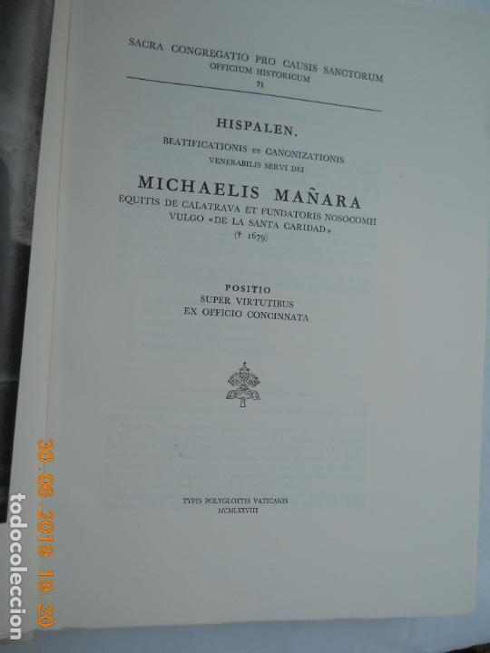 Libros de segunda mano: MICHAELIS MAÑARA , OFICIO DE CANONIZACION MIGUEL DE MAÑARA HISPALEN Nº 71 EN CASTELLANO - Foto 5 - 171355469