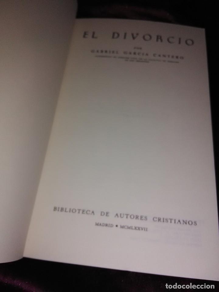 Libros de segunda mano: El divorcio. G. García Cantero. BAC popular, n. 8. 1977. - Foto 2 - 176388035