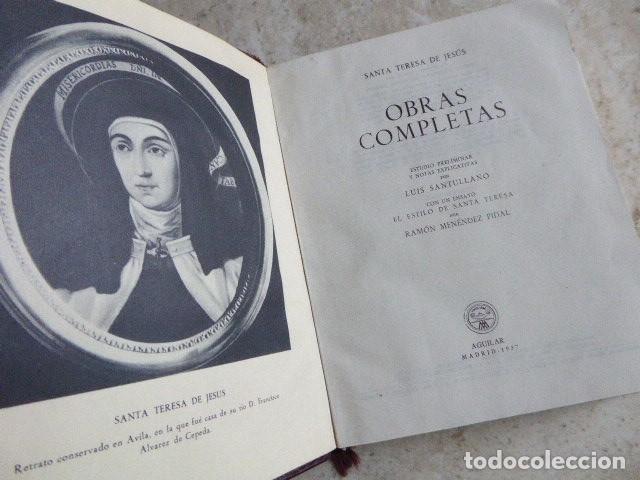 Libros de segunda mano: SANTA TERESA DE JESUS. OBRAS COMPLETAS. AGUILAR, 1957. PLENA PIEL. 8ª ED. - Foto 6 - 176639962