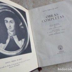 Libros de segunda mano: SANTA TERESA DE JESUS. OBRAS COMPLETAS. AGUILAR, 1957. PLENA PIEL. 8ª ED.. Lote 176639962