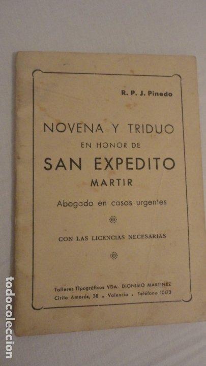 J.PINEDO.NOVENA TRIDUO SAN EXPEDITO MARTIR.VALENCIA 1949 (Libros de Segunda Mano - Religión)