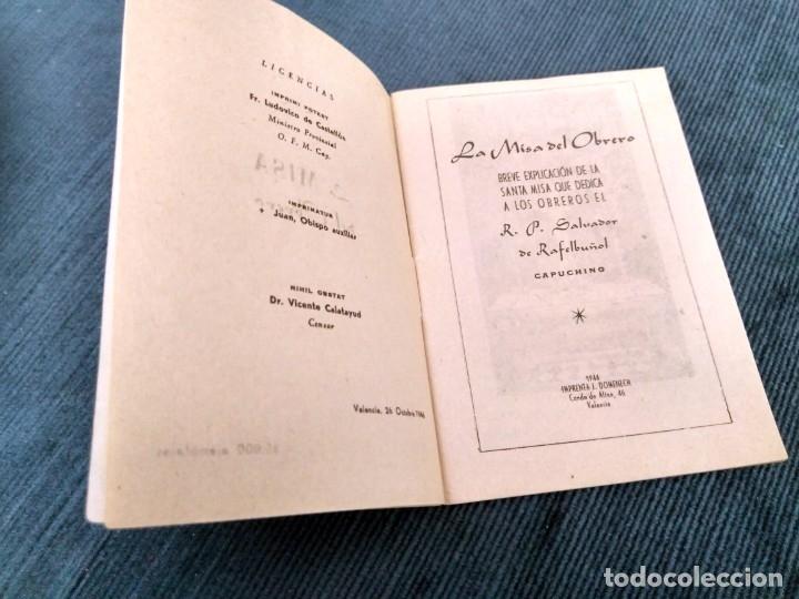Libros de segunda mano: La misa del Obrero.por el P. Salvador de Rafelbuñol. Capuchino. Imp Domenech Valencia 1946 - Foto 2 - 180986438