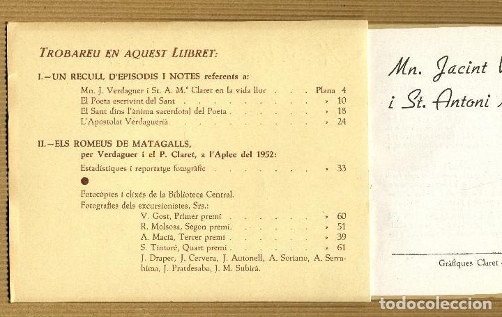 Libros de segunda mano: IV APLEC CLARETIA MATAGALLS, 1953 Mn. J. VERDAGUER I St. A. Mª. CLARET - Foto 2 - 190563677